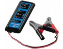 Compact battery tester for 12 V car batteries.